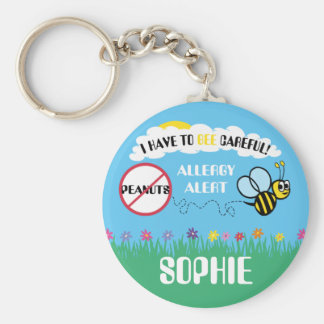 Bee Careful Peanut Allergy Alert Kids Personalized Basic Round Button Key Ring
