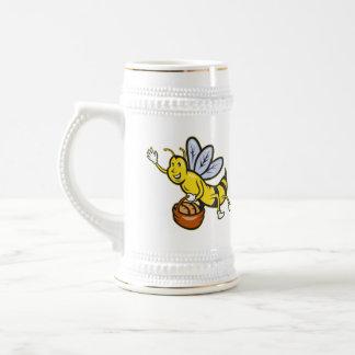 Bee Carrying Basket Bread Loaf Cartoon Beer Steins
