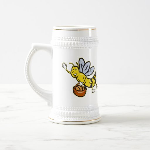 Bee Carrying Basket Bread Loaf Cartoon Mugs
