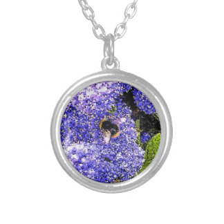Bee Ceanothus Flowers Silver Plated Necklace