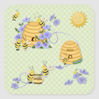 Bee Dance Party Square Sticker