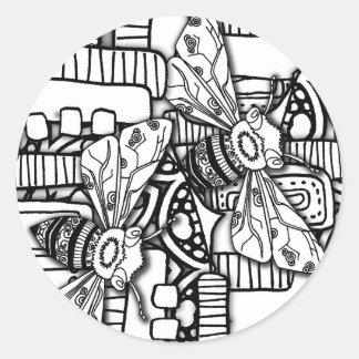 Bee Doodles Round Sticker