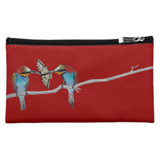 Bee Eaters Butterfly Watercolour Red Orange Cosmetics Bags