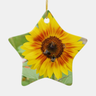 Bee Fetching Nectar From Sunflower Flower Christmas Ornament