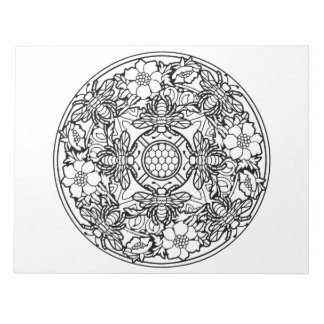 Bee Flower Garden Mandala Coloring Book Pad