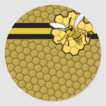 Bee Flying Away From Honeycomb Round Sticker