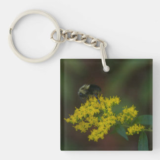 Bee Foraging on Goldenrod Keychain