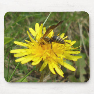 Bee Gathering Honey on Dandelion Flower Mouse Pad