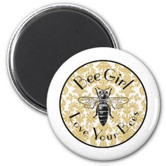 Bee Girl 6 Cm Round Magnet
