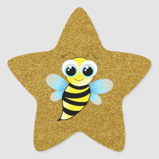 Bee Gold Star Star Sticker