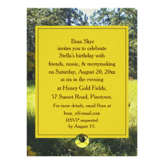 Bee Goldenrod Birthday Celebration Party Announcements