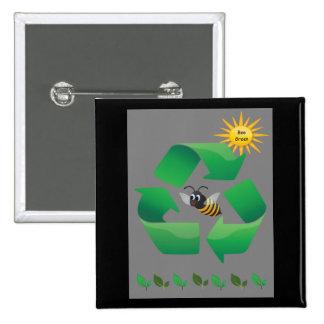 Bee Green - Cute Environmental 15 Cm Square Badge