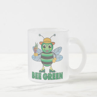 BEE Green Frosted Glass Mug