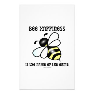 Bee Happiness Is The Name Of The Game (Bee) Custom Stationery