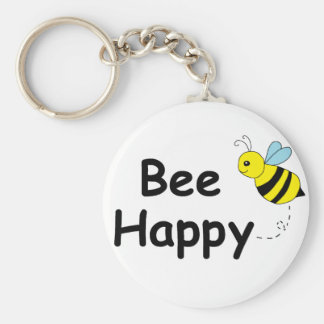 Bee Happy Basic Round Button Key Ring