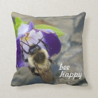 Bee Happy Bee And Flower Cushion