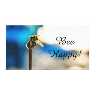 "Bee Happy Bumble Bee Canvas Print 14"" x 11"", 1.5"""
