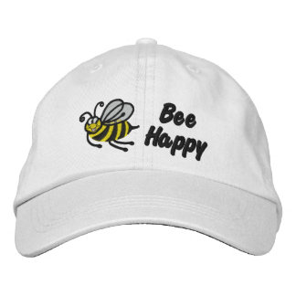 Bee Happy - Cap Embroidered Baseball Caps