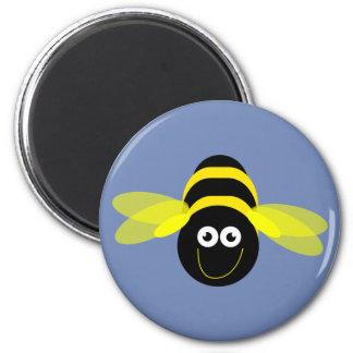 Bee Happy cartoon bee pattern blue B/G 6 Cm Round Magnet
