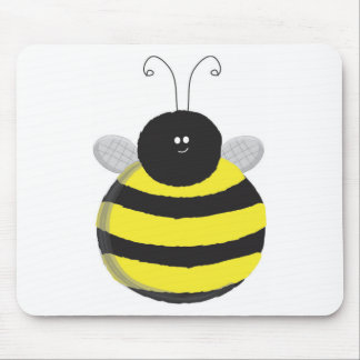 Bee Happy Chubby cute bee Mouse Pad