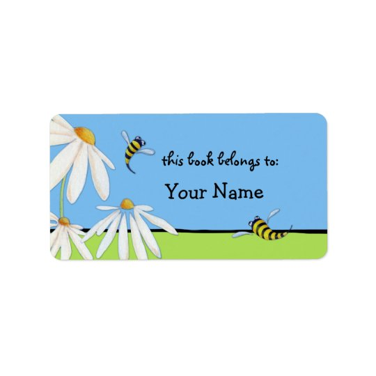 Bee Happy Daisies Bookplate Label Address Label
