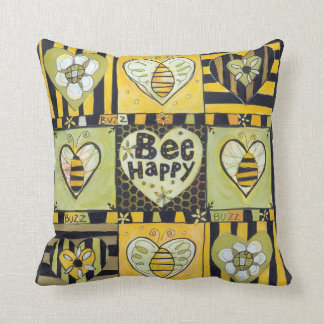Bee Happy Decorative Accent Pillow