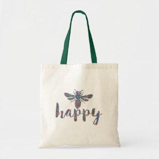 Bee Happy Modern Typography Design Tote Bag