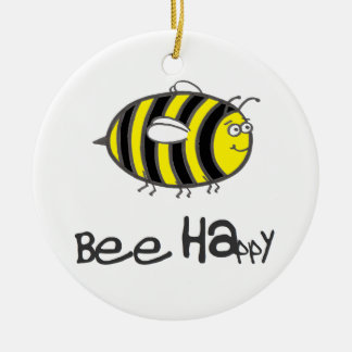 Bee Happy Round Ceramic Decoration