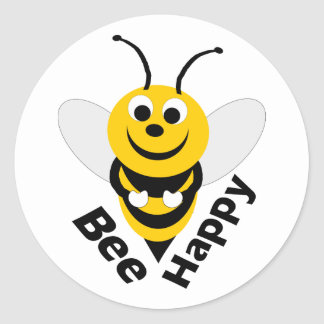 Bee Happy Round Classic Round Sticker