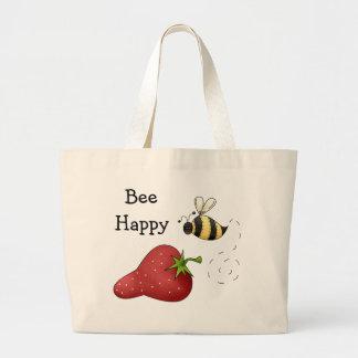 Bee Happy Strawberry Print Art Jumbo Tote Bag