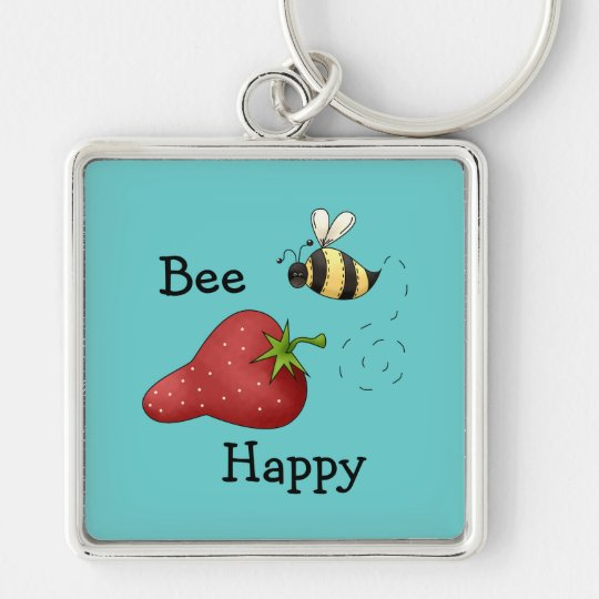 Bee Happy Strawberry Print Art Silver-Colored Square Key Ring