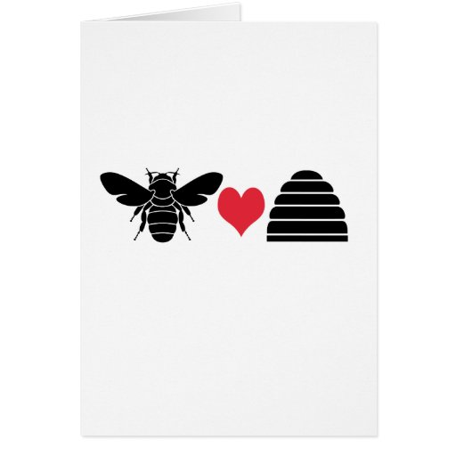 Bee Heart Hive Greeting Cards