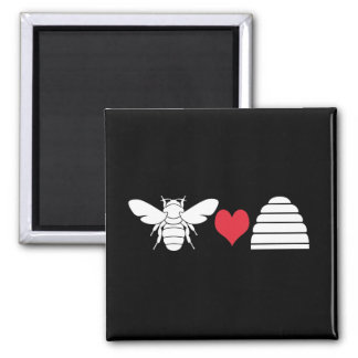 Bee Heart Hive Square Magnet