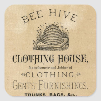 Bee Hive Gentlemens Clothing House Square Stickers