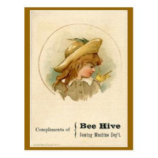 Bee Hive Sewing Machine Ad Postcard