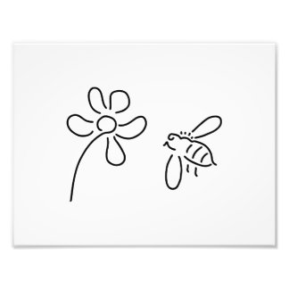 bee honey flower bloom photo print