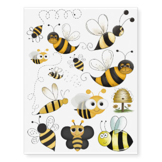 Bee Honeybee Bumble tattoo yellow & black
