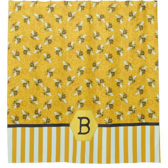 Bee Honeycomb Honeybee Beehive Bumblebee Monogram Shower Curtain