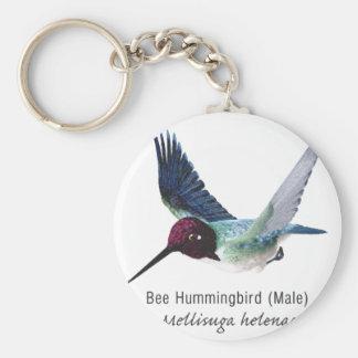 Bee Hummingbird Male with Name Keychain