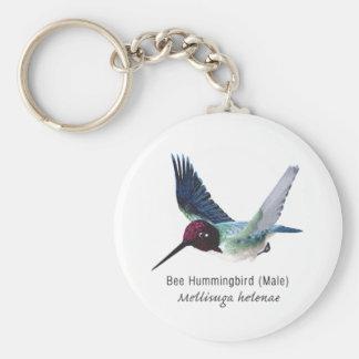 Bee Hummingbird Male with Name Key Chain