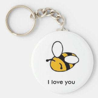 bee i love you basic round button key ring