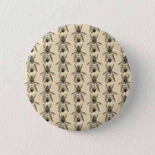 Bee Illustration - Vintage Design Button Badge
