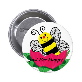 Bee in the flower, Just Bee Happy button