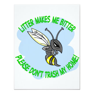 bee 11 cm x 14 cm invitation card
