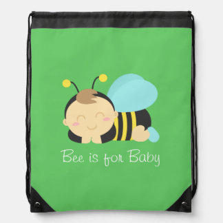 Bee is for Baby, Bumble Bee for Mommy Drawstring Backpack