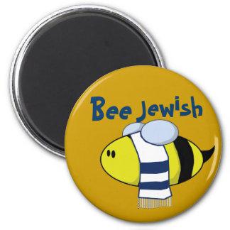 """""""Bee Jewish"""" 6 Cm Round Magnet"""