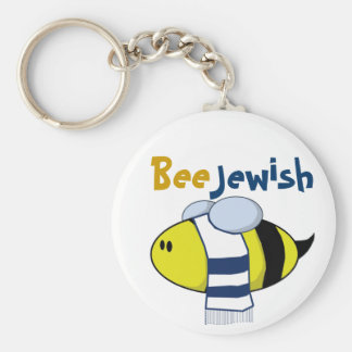 """Bee Jewish"" Basic Round Button Key Ring"