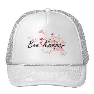 Bee Keeper Artistic Job Design with Hearts Cap