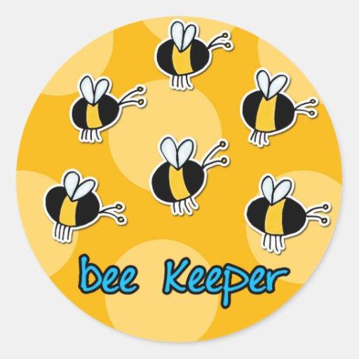 bee keeper round sticker