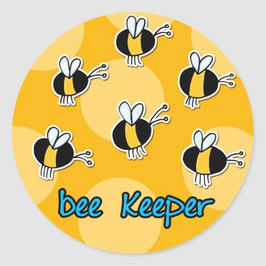 bee keeper round sticker